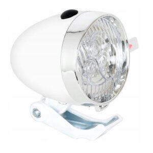 Lampka rowerowa przednia retro 3 LED baterie biała