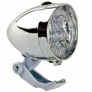Lampka rowerowa przednia retro 3 LED baterie czarna