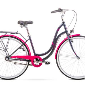Rower miejski Romet Angel 28 3 biegi czarno-różowy