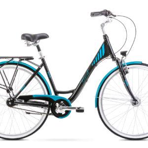 Rower miejski Romet Art Deco 7 28 czarno-turkusowy