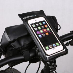 Uchwyt rowerowy na telefon smartfon ROSWHEEL DRY na kierownicę wodoodporny czarny