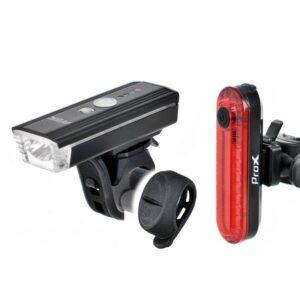 Zestaw lamp rowerowych ProX AERO A.I. SET 350Lm +10Lm USB, pilot, sensor