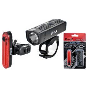 Zestaw lamp rowerowych ProX AERO PLUS SET 400Lm + 10Lm USB