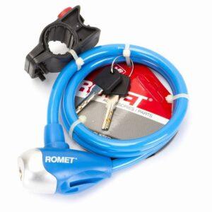 Zapięcie do roweru Romet linka 10x1000mm na klucz niebieskie