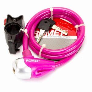 Zapięcie do roweru Romet linka 10x1000mm na klucz różowe