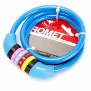 Zapięcie do roweru Romet linka 10x1000mm na szyfr niebieskie