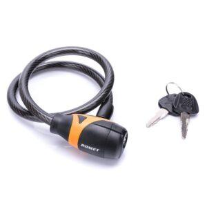 Zapięcie do roweru Romet linka 10x650mm na klucz czarno-pomarańczowe