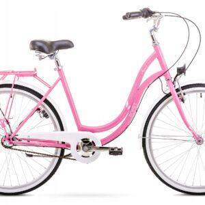 Rower miejski Romet Angel 26 3 biegi różowo-biały